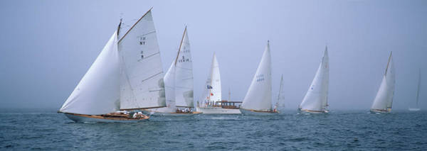 Racing Yacht Photograph - Yachts Racing In The Ocean, Annual by Panoramic Images
