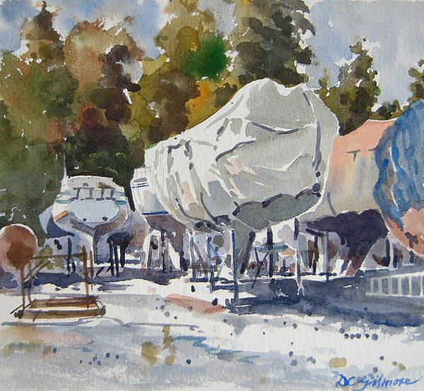 Painting - Yachts Under Wrap by David Gilmore