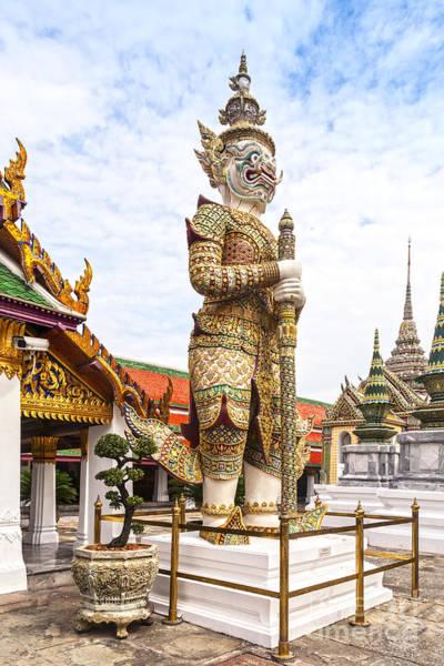 Demon Photograph - Yaksha Figure Wat Phra Kaew Bangkok by Colin and Linda McKie
