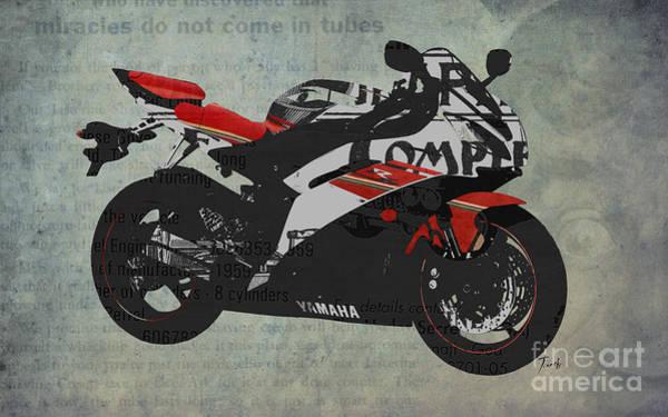 Garage Decor Mixed Media - Yamaha And The Newspaper Cuts by Drawspots Illustrations