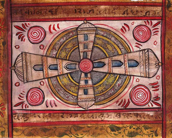 Wall Art - Painting - Yantra Mantra Miniature Painting Antique Vintage Artwork India Asia  by A K Mundhra