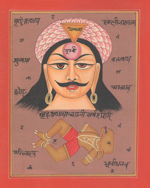 Wall Art - Painting - Yantra Mantra Miniature Painting India Earth Artwork Artist Tantric Tantrik by A K Mundhra