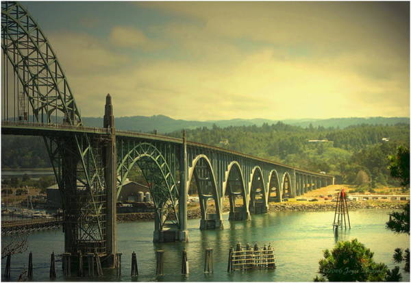 Wall Art - Photograph - Yaquina Bay Bridge Or by Joyce Dickens