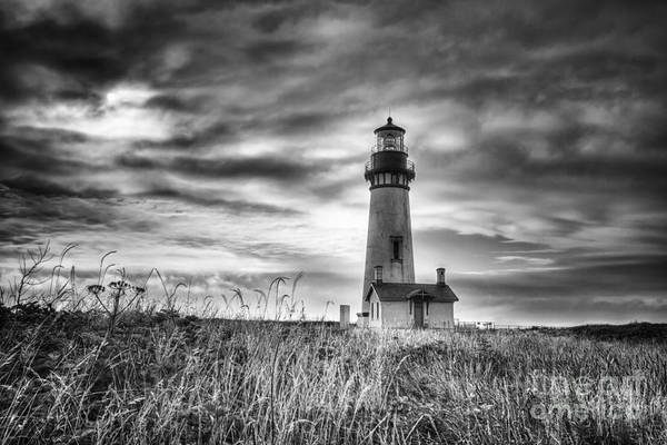 Headlands Photograph - Yaquina Head Lighthouse Black And White by Mark Kiver