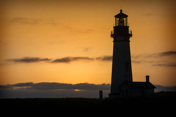 Photograph - Yaquina Lighthouse At Sunset by Michael Ash