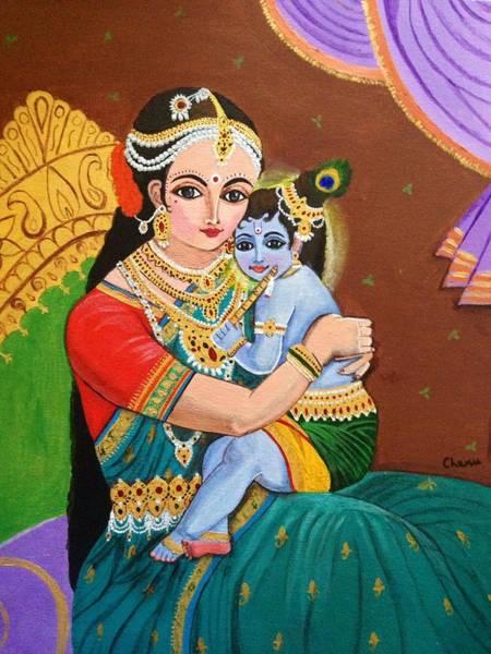 Hindu Goddess Wall Art - Painting - Yashoda And Krishna by Charumathi Raghuraman