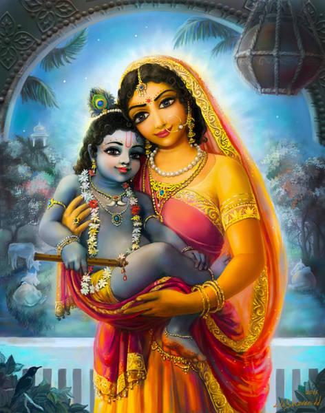 Wall Art - Mixed Media - Yashoda And  Krishna by Lila Shravani
