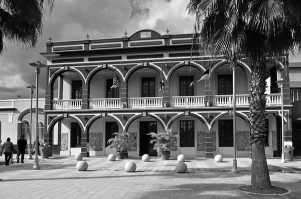 Photograph - Yauco City Hall B W by Ricardo J Ruiz de Porras