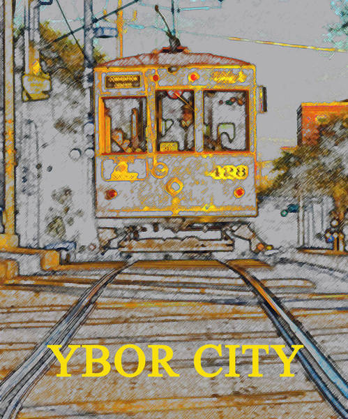 Florida City Painting - Ybor Trolley by David Lee Thompson