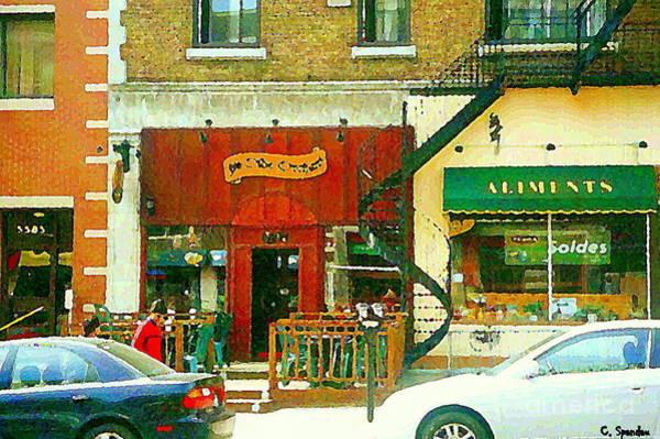 Painting - Ye Olde Orchard Pub Paintings Of Monkland Village West End Montreal Art Bistro Carole Spandau  by Carole Spandau