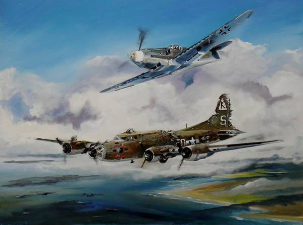 Bomber Painting - Ye Olde Pub by Terence R Rogers