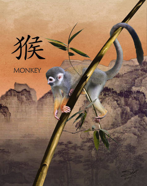 Birth Digital Art - Year Of The Monkey by M Spadecaller