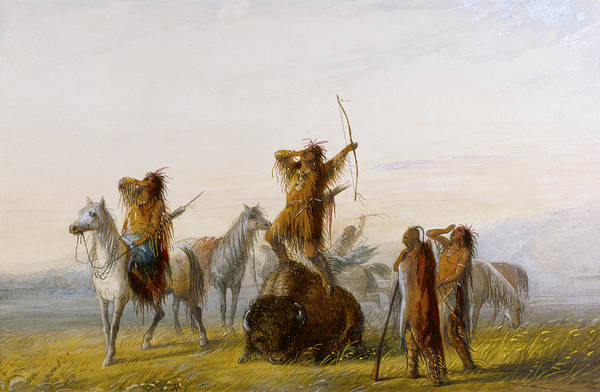 Indian Brave Digital Art - Yell Of Triumph Buffalo by Alfred Jacob Miller