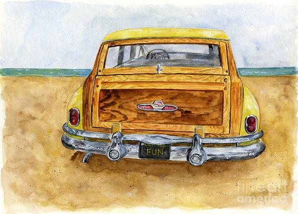 Wall Art - Painting - Yellow 1951 Surf Wagon by Sheryl Heatherly Hawkins