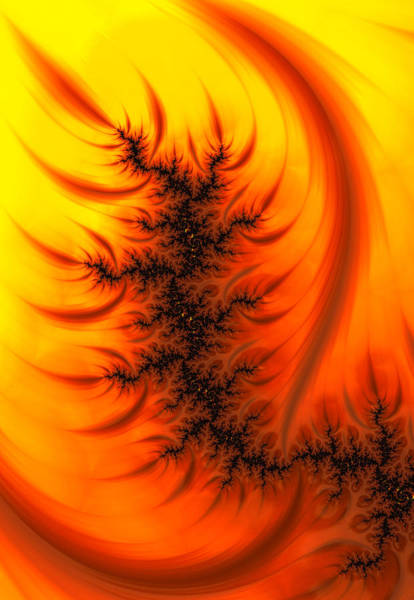 Digital Art - Yellow And Orange Fractal Fire by Matthias Hauser