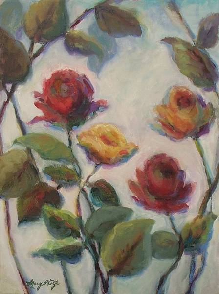 Painting - Yellow And Red Roses  by Mary Wolf