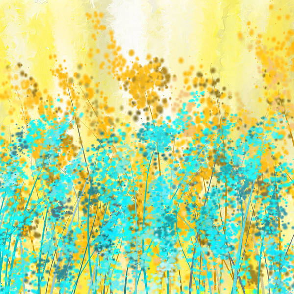 Painting - Yellow And Turquoise Garden by Lourry Legarde