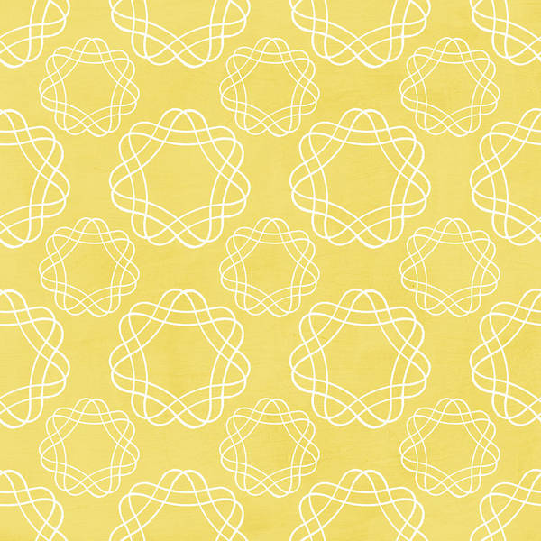 Wall Art - Mixed Media - Yellow And White Geometric Floral  by Linda Woods