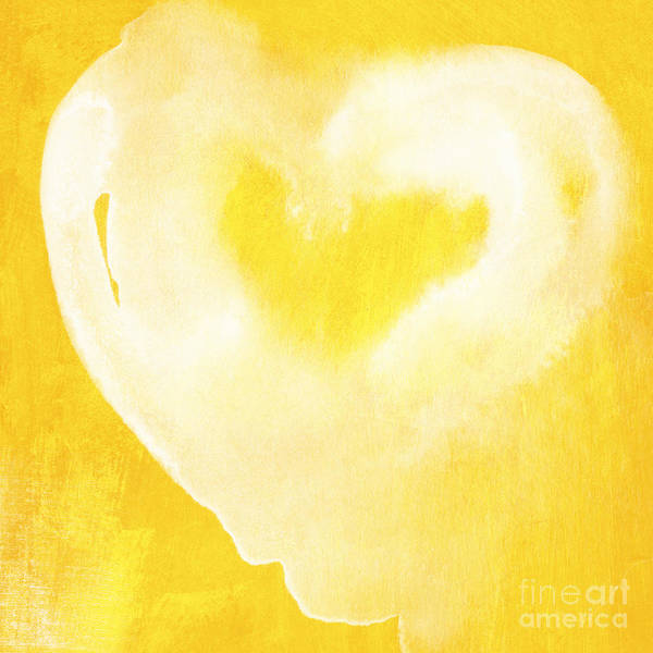 Blue Heart Wall Art - Mixed Media - Yellow And White Love by Linda Woods