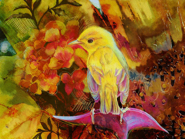 Canaries Painting - Yellow Bird by Catf