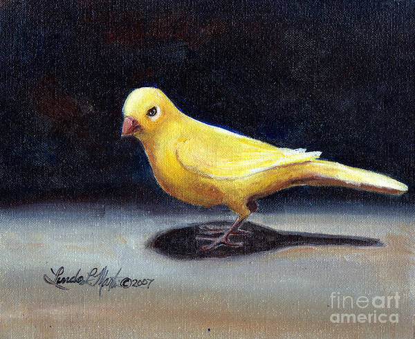 Canaries Painting - Yellow Bird by Linda L Martin