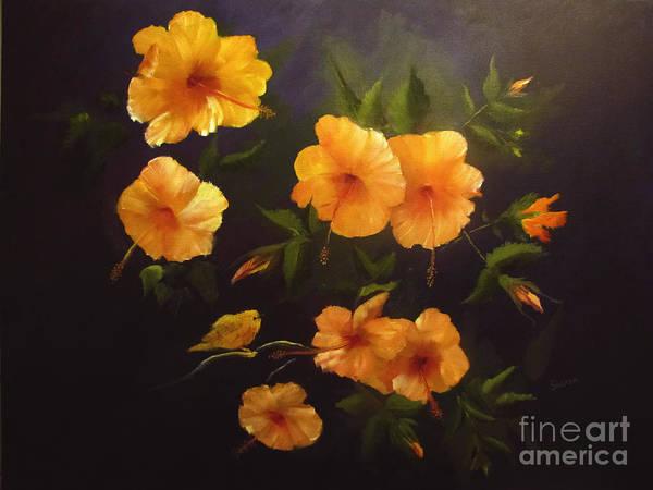 Hibiscus Flower Painting - Yellow Bird by Sharon Burger