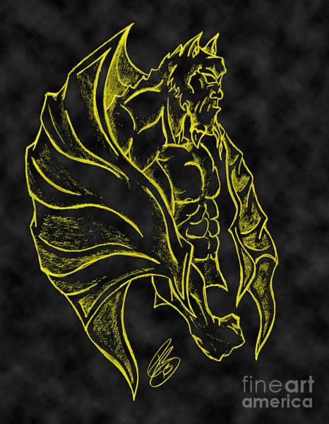 Gargoyle Digital Art - Yellow Black Gargoyle by Minding My  Visions by Adri and Ray