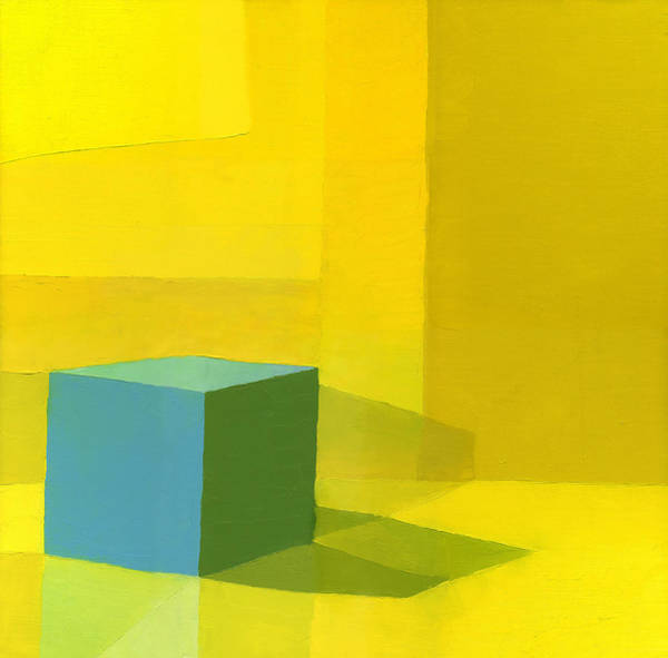 Cube Painting - Yellow  Blue  by Daniel Cacouault