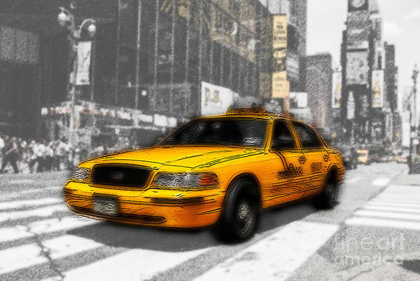 Photograph - Yellow Cab At The Times Square -comic by Hannes Cmarits