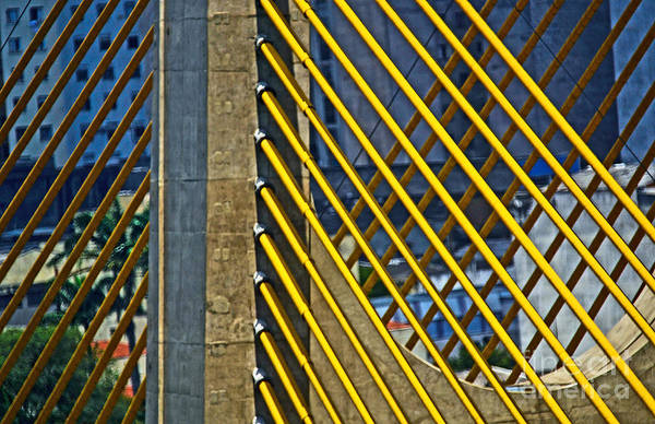 Photograph - Yellow Cable Stays - Sao Paulo - Brazil / Estaiadinha by Carlos Alkmin