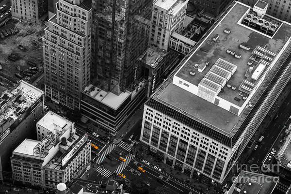 Photograph - Yellow Cabs - Bird's Eye View by Hannes Cmarits