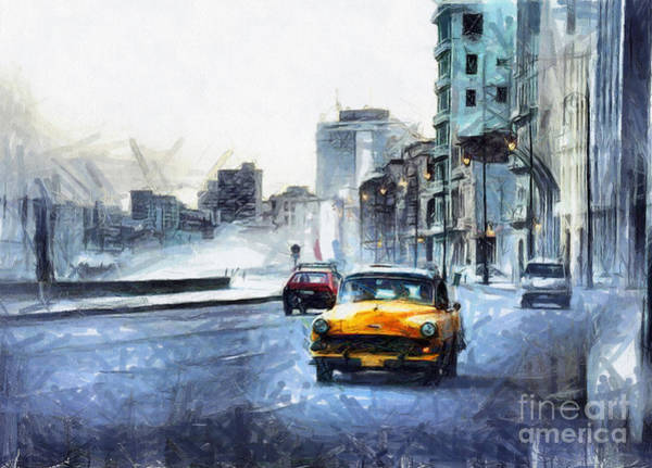 Mixed Media - Yellow Car by Daliana Pacuraru
