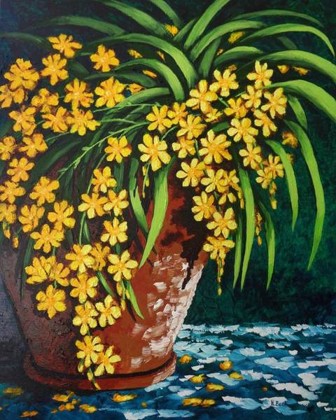 Wall Art - Painting - Yellow Cascade by Katherine Young-Beck