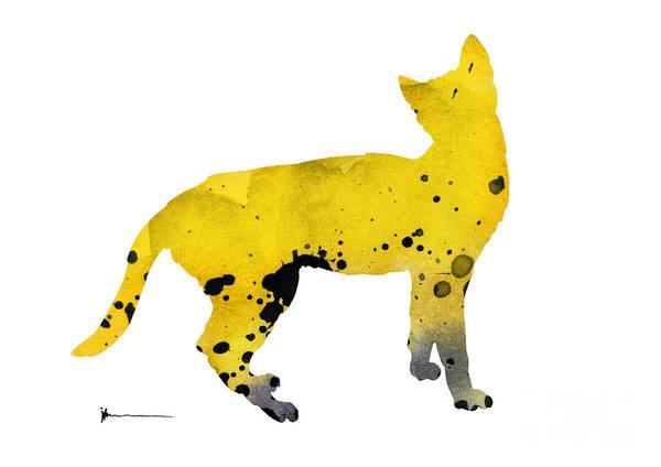 Wall Art - Painting - Yellow Cat Silhouette Watercolor Art Print Poster by Joanna Szmerdt