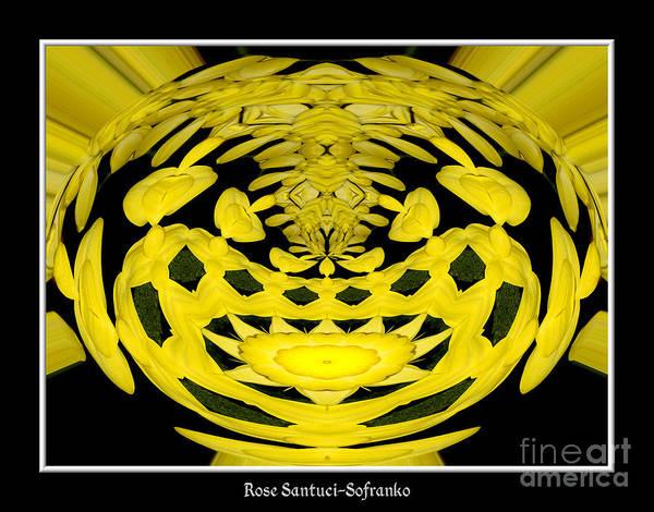 Photograph - Yellow Chrysanthemums Polar Coordinates Effect by Rose Santuci-Sofranko