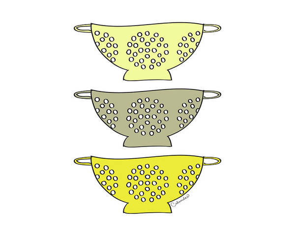 Colander Wall Art - Painting - Yellow Colander by Amy Cummings