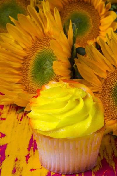 Golden Delicious Wall Art - Photograph - Yellow Cupcake And Sunflower by Garry Gay
