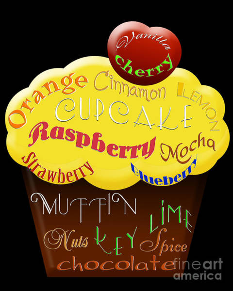 Digital Art - Yellow Cupcake Typography by Andee Design