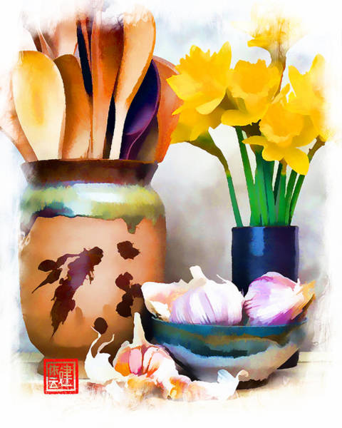 Wooden Spoon Digital Art - Yellow Daffodils In Blue Pottery Vase by Ken Evans