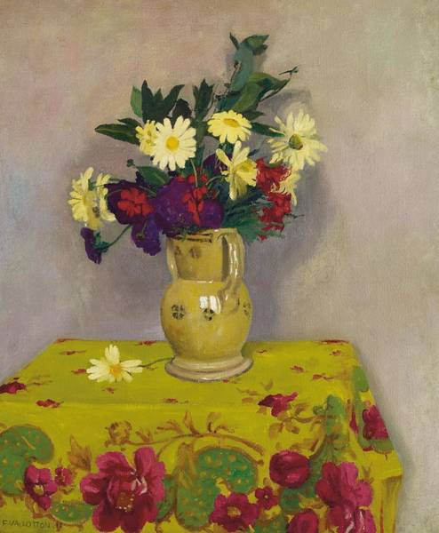 Tablecloth Painting - Yellow Daisies And Various Flowers by Felix Edouard Vallotton