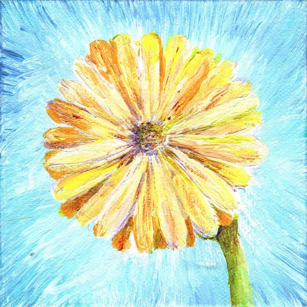 Painting - Yellow Daisy Miniature Painting by Regina Valluzzi