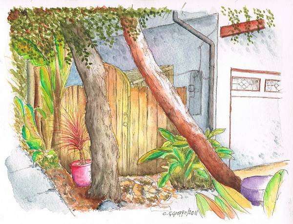 Acuarela Painting - Yellow Door With Two Trees In Venice Beach - California by Carlos G Groppa