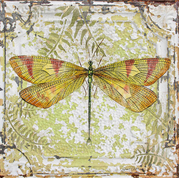 Ceiling Painting - Yellow Dragonfly On Vintage Tin by Jean Plout