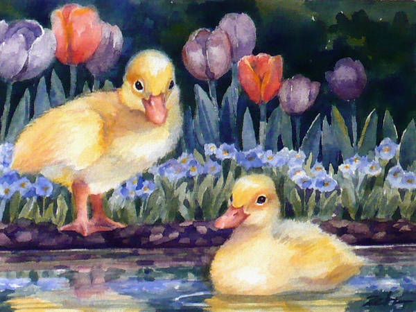 Painting - Yellow Ducklings - First Swim by Janet Zeh