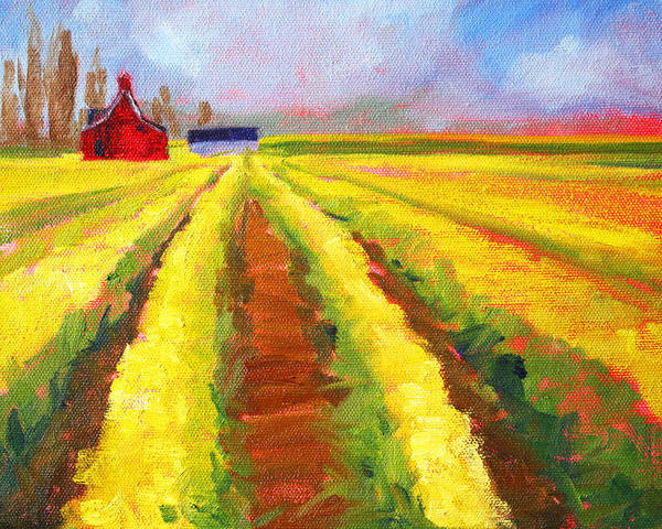 Wall Art - Painting - Yellow Field Landscape by Nancy Merkle