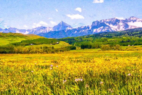 Digital Art - Yellow Field Of Wildflowers by Rick Wicker