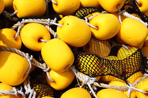 Photograph - Yellow Fishing Net Floats by James Brunker