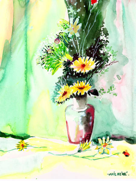 Painting - Yellow Flowers 1 by Anil Nene