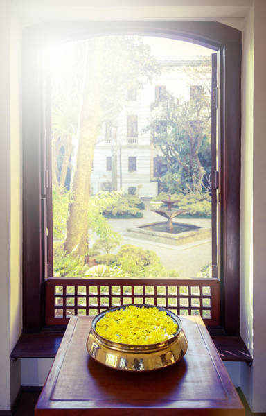 Floristry Photograph - Yellow Flowers And Open Window by Dutourdumonde Photography