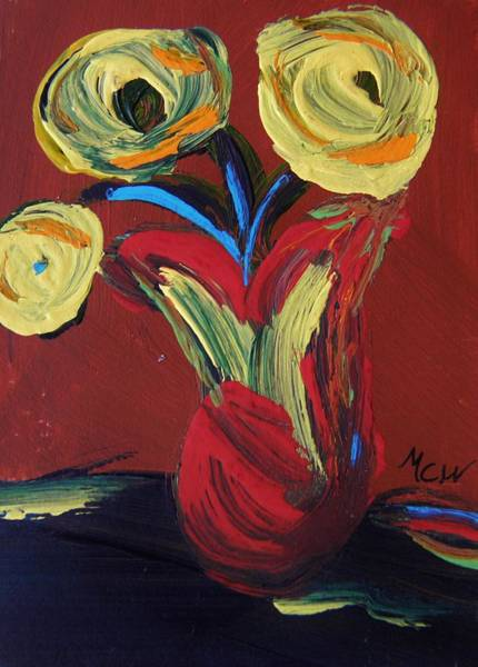 Atc Painting - Yellow Flowers In Artisan Vase by Mary Carol Williams